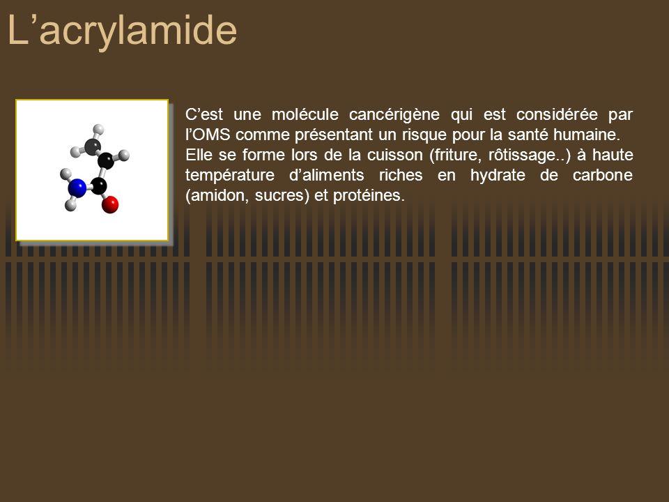 Lacrylamide Cest une molécule cancérigène qui est considérée par lOMS comme présentant un risque pour la santé humaine. Elle se forme lors de la cuiss