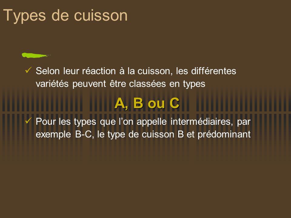 Types de cuisson Selon leur réaction à la cuisson, les différentes variétés peuvent être classées en types A, B ou C Pour les types que lon appelle in