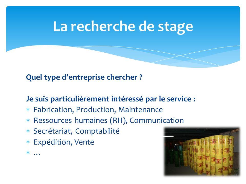 Quel type dentreprise chercher ? Je suis particulièrement intéressé par le service : Fabrication, Production, Maintenance Ressources humaines (RH), Co