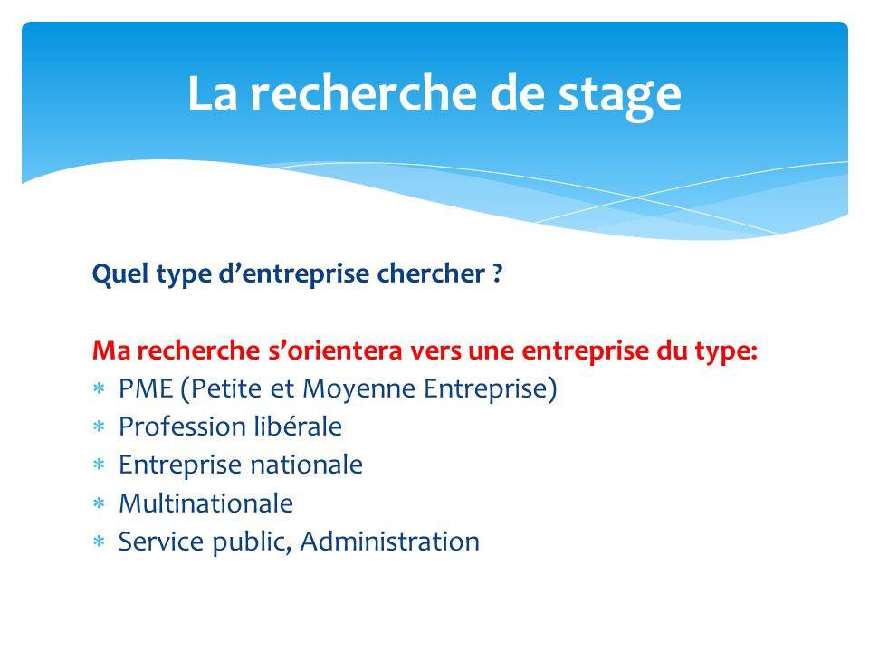 Quel type dentreprise chercher ? Ma recherche sorientera vers une entreprise du type: PME (Petite et Moyenne Entreprise) Profession libérale Entrepris