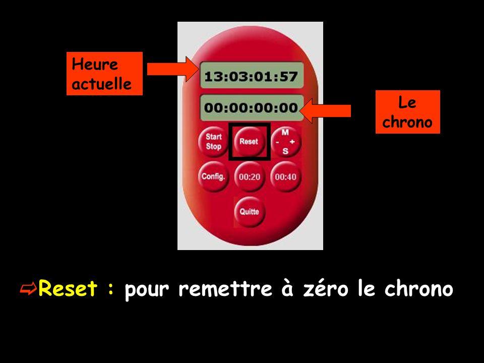 Touche minutes-secondes : pour modifier en plus ou en moins minutes et secondes