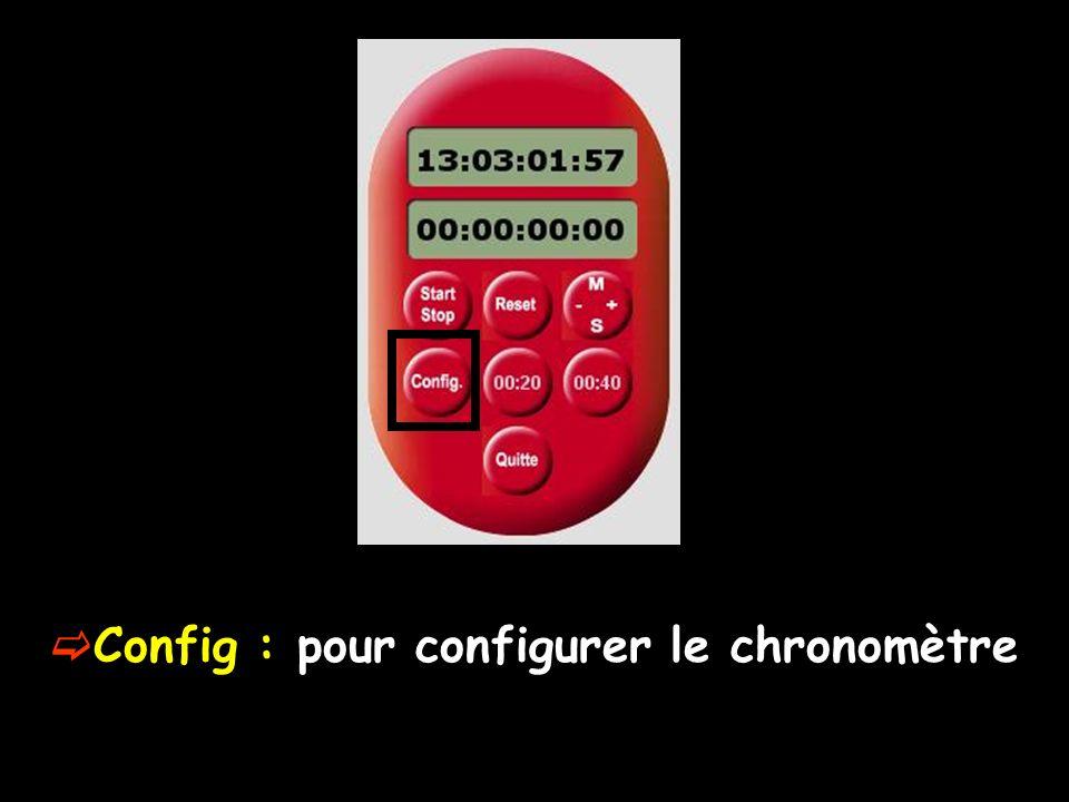 Config : pour configurer le chronomètre