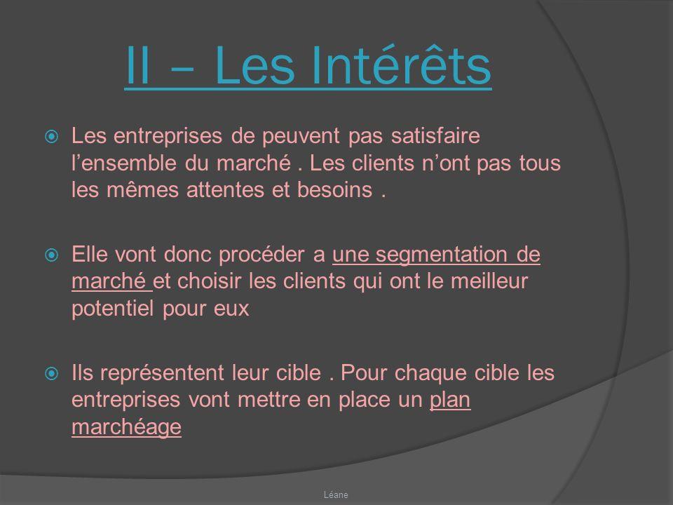 II – Les Intérêts Les entreprises de peuvent pas satisfaire lensemble du marché.