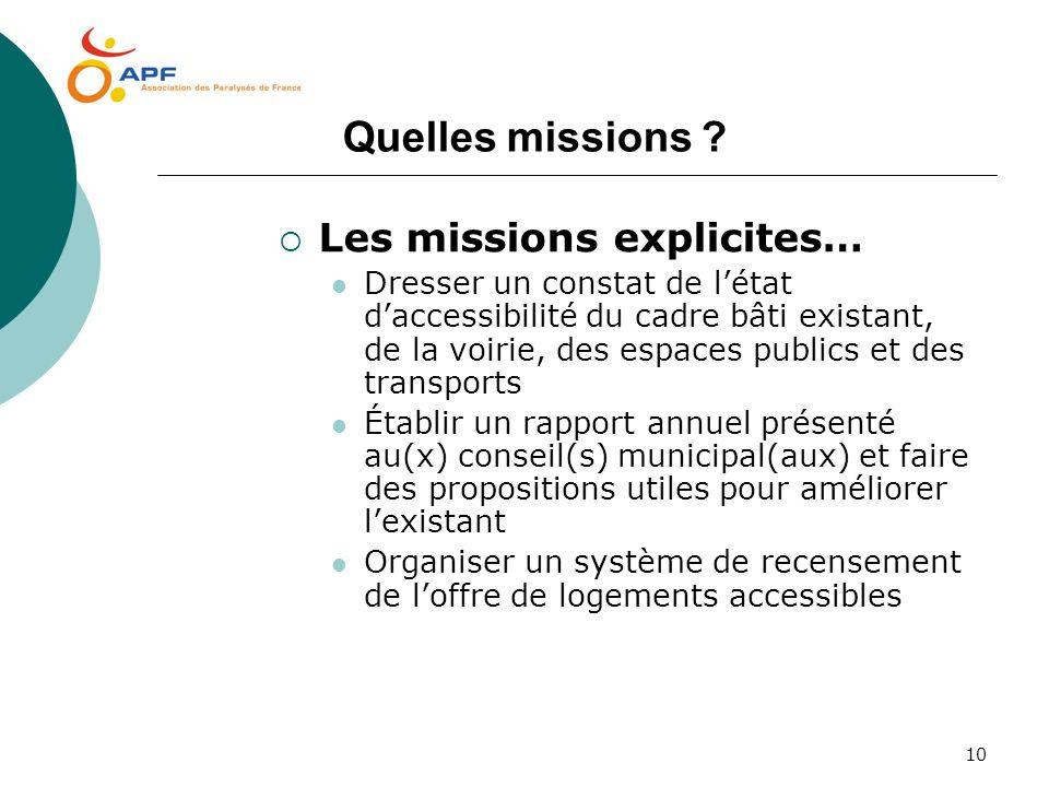 10 Quelles missions ? Les missions explicites… Dresser un constat de létat daccessibilité du cadre bâti existant, de la voirie, des espaces publics et