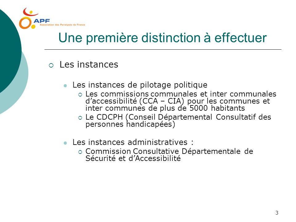 3 Une première distinction à effectuer Les instances Les instances de pilotage politique Les commissions communales et inter communales daccessibilité