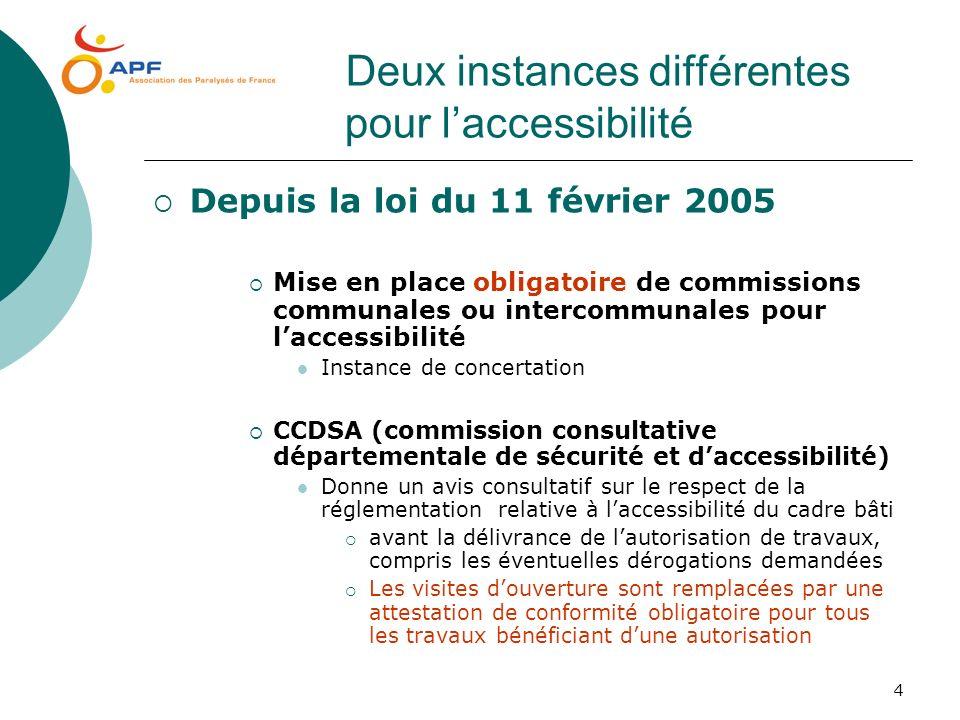 4 Deux instances différentes pour laccessibilité Depuis la loi du 11 février 2005 Mise en place obligatoire de commissions communales ou intercommunal