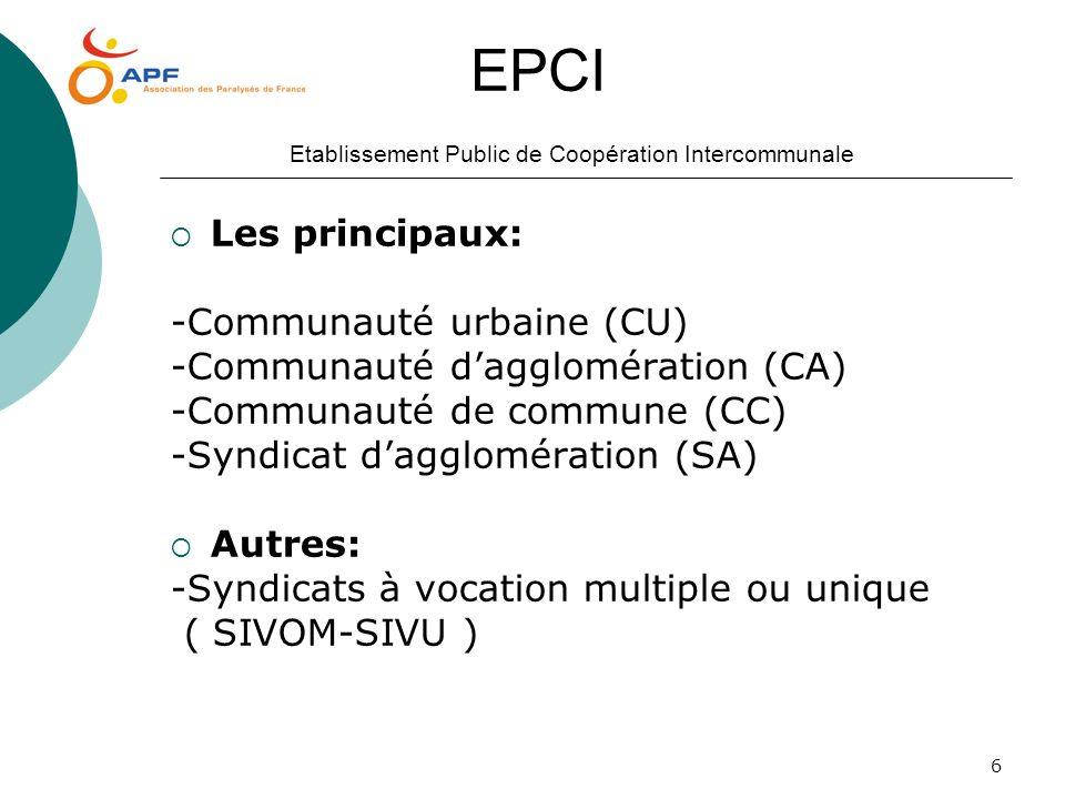 6 EPCI Etablissement Public de Coopération Intercommunale Les principaux: -Communauté urbaine (CU) -Communauté dagglomération (CA) -Communauté de comm
