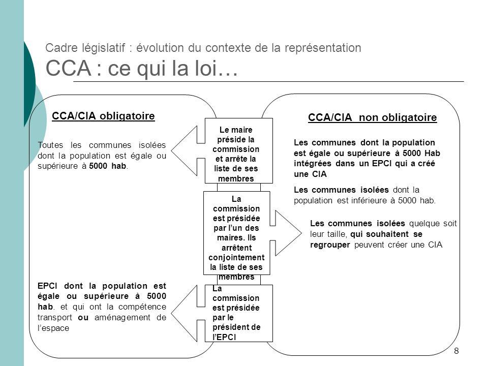8 Cadre législatif : évolution du contexte de la représentation CCA : ce qui la loi… La commission est présidée par lun des maires. Ils arrêtent conjo