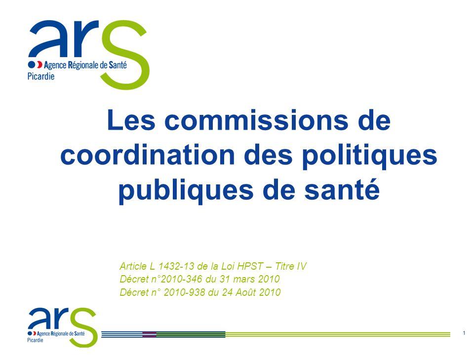 1 Les commissions de coordination des politiques publiques de santé Article L 1432-13 de la Loi HPST – Titre IV Décret n°2010-346 du 31 mars 2010 Décret n° 2010-938 du 24 Août 2010