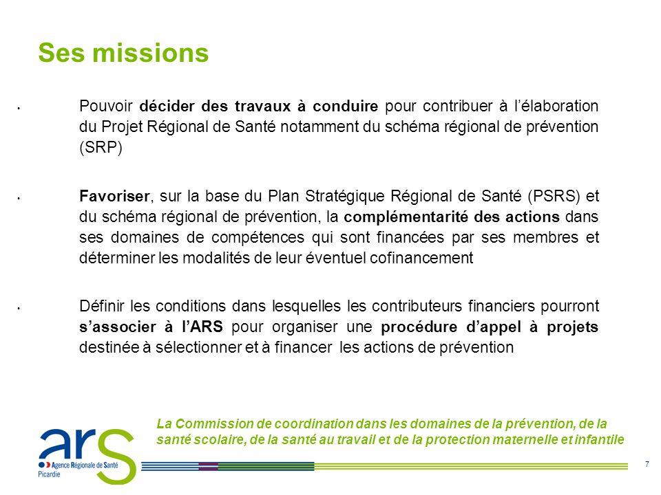 7 Ses missions Pouvoir décider des travaux à conduire pour contribuer à lélaboration du Projet Régional de Santé notamment du schéma régional de prévention (SRP) Favoriser, sur la base du Plan Stratégique Régional de Santé (PSRS) et du schéma régional de prévention, la complémentarité des actions dans ses domaines de compétences qui sont financées par ses membres et déterminer les modalités de leur éventuel cofinancement Définir les conditions dans lesquelles les contributeurs financiers pourront sassocier à lARS pour organiser une procédure dappel à projets destinée à sélectionner et à financer les actions de prévention La Commission de coordination dans les domaines de la prévention, de la santé scolaire, de la santé au travail et de la protection maternelle et infantile