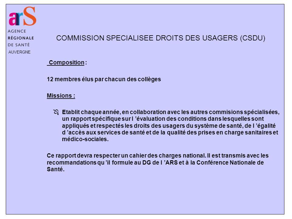 AUVERGNE COMMISSION SPECIALISEE DROITS DES USAGERS (CSDU) Composition : 12 membres élus par chacun des collèges Missions : ÔEtablit chaque année, en c