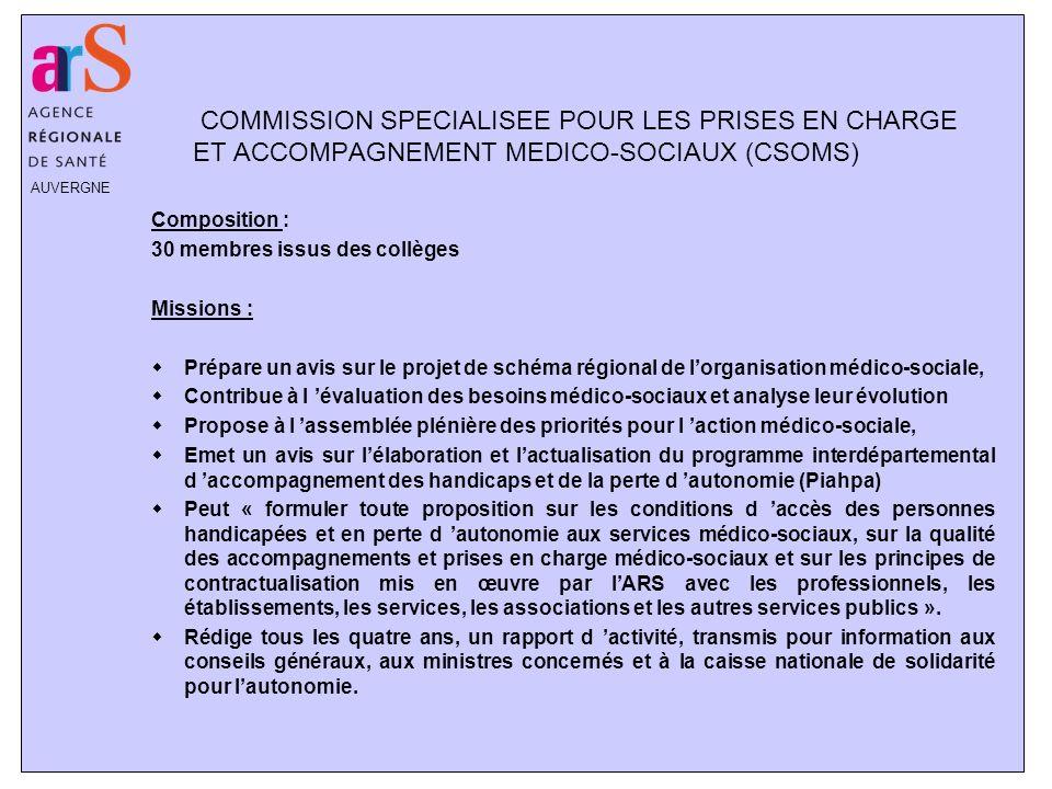 AUVERGNE COMMISSION SPECIALISEE POUR LES PRISES EN CHARGE ET ACCOMPAGNEMENT MEDICO-SOCIAUX (CSOMS) Composition : 30 membres issus des collèges Mission