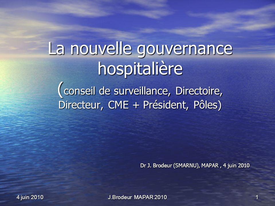 4 juin 2010J.Brodeur MAPAR 20101 La nouvelle gouvernance hospitalière ( conseil de surveillance, Directoire, Directeur, CME + Président, Pôles) Dr J.