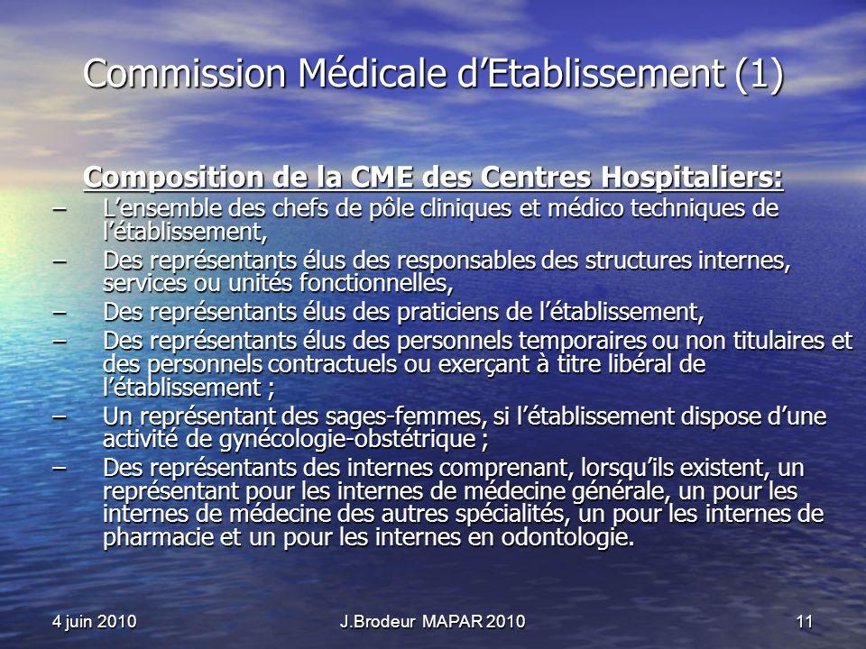 4 juin 2010J.Brodeur MAPAR 201011 Commission Médicale dEtablissement (1) Composition de la CME des Centres Hospitaliers: –Lensemble des chefs de pôle