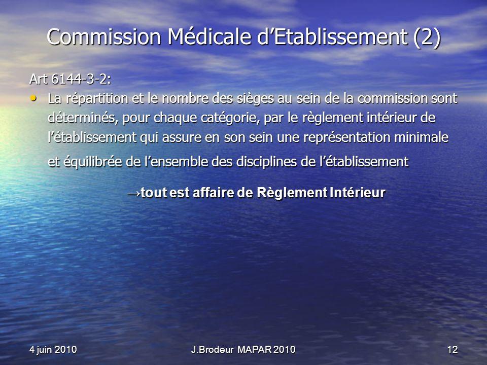 4 juin 2010J.Brodeur MAPAR 201012 Commission Médicale dEtablissement (2) Art 6144-3-2: La répartition et le nombre des sièges au sein de la commission