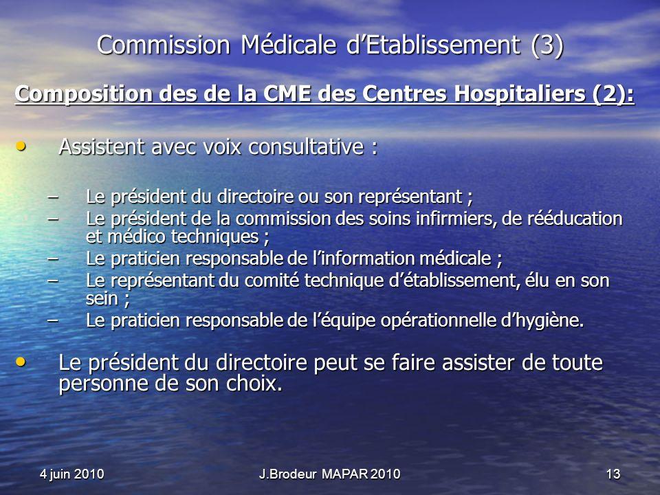 4 juin 2010J.Brodeur MAPAR 201013 Commission Médicale dEtablissement (3) Composition des de la CME des Centres Hospitaliers (2): Assistent avec voix c