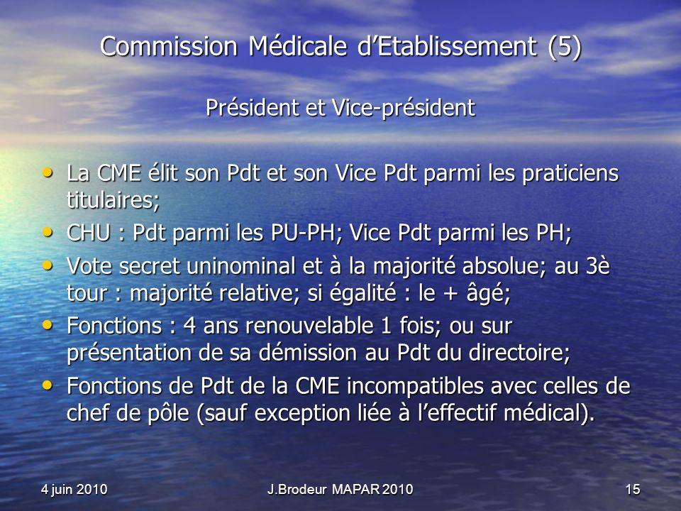 4 juin 2010J.Brodeur MAPAR 201015 Commission Médicale dEtablissement (5) Président et Vice-président La CME élit son Pdt et son Vice Pdt parmi les pra