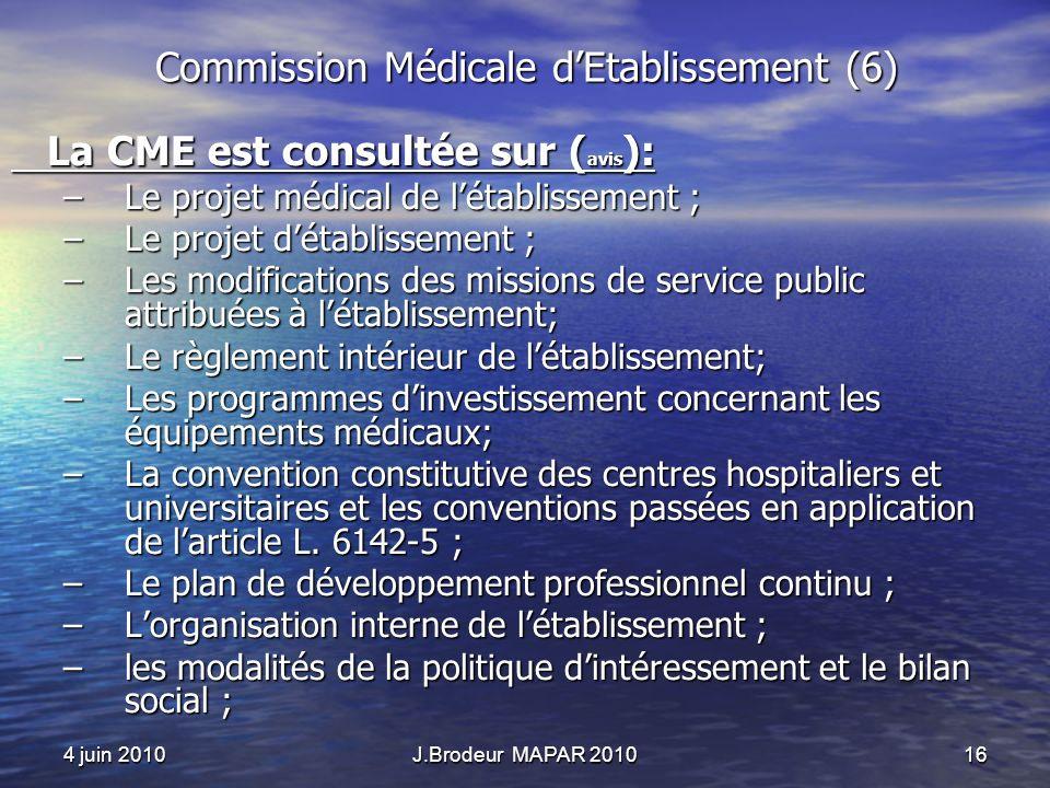 4 juin 2010J.Brodeur MAPAR 201016 Commission Médicale dEtablissement (6) La CME est consultée sur ( avis ): La CME est consultée sur ( avis ): –Le pro