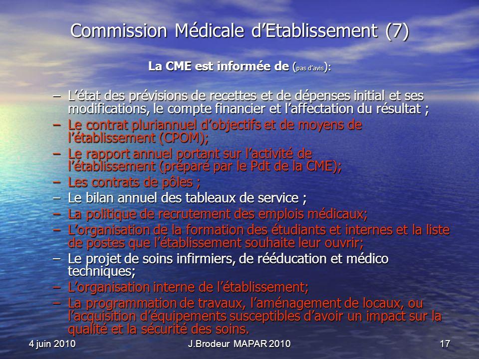 4 juin 2010J.Brodeur MAPAR 201017 Commission Médicale dEtablissement (7) La CME est informée de ( pas davis ): –Létat des prévisions de recettes et de dépenses initial et ses modifications, le compte financier et laffectation du résultat ; –Le contrat pluriannuel dobjectifs et de moyens de létablissement (CPOM); –Le rapport annuel portant sur lactivité de létablissement (préparé par le Pdt de la CME); –Les contrats de pôles ; –Le bilan annuel des tableaux de service ; –La politique de recrutement des emplois médicaux; –Lorganisation de la formation des étudiants et internes et la liste de postes que létablissement souhaite leur ouvrir; –Le projet de soins infirmiers, de rééducation et médico techniques; –Lorganisation interne de létablissement; –La programmation de travaux, laménagement de locaux, ou lacquisition déquipements susceptibles davoir un impact sur la qualité et la sécurité des soins.