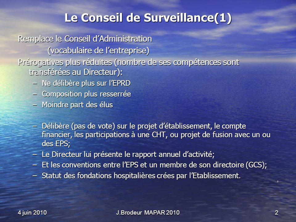 4 juin 2010J.Brodeur MAPAR 20102 Le Conseil de Surveillance(1) Remplace le Conseil dAdministration (vocabulaire de lentreprise) Prérogatives plus rédu