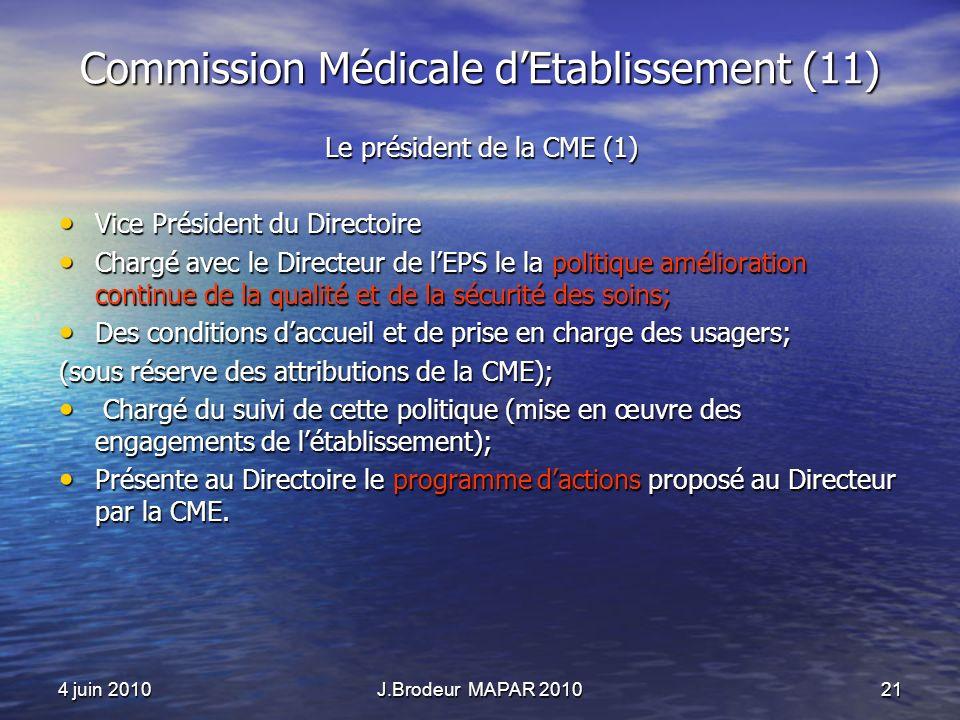 4 juin 2010J.Brodeur MAPAR 201021 Commission Médicale dEtablissement (11) Le président de la CME (1) Vice Président du Directoire Vice Président du Di