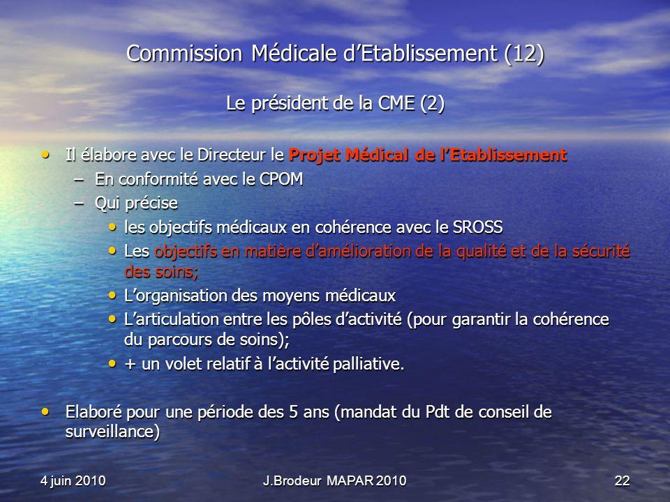 4 juin 2010J.Brodeur MAPAR 201022 Commission Médicale dEtablissement (12) Le président de la CME (2) Il élabore avec le Directeur le Projet Médical de