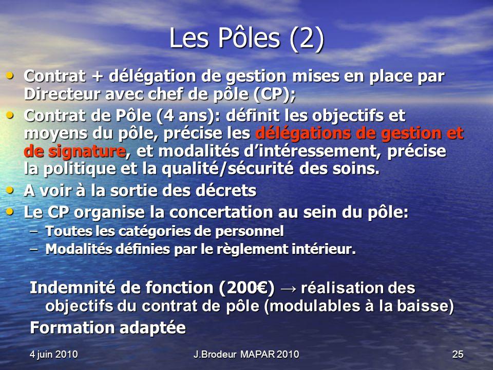 4 juin 2010J.Brodeur MAPAR 201025 Les Pôles (2) Contrat + délégation de gestion mises en place par Directeur avec chef de pôle (CP); Contrat + délégat