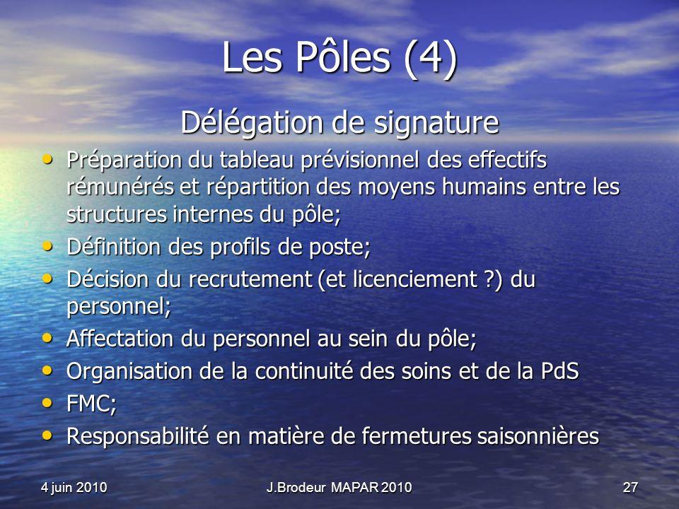 4 juin 2010J.Brodeur MAPAR 201027 Les Pôles (4) Délégation de signature Préparation du tableau prévisionnel des effectifs rémunérés et répartition des