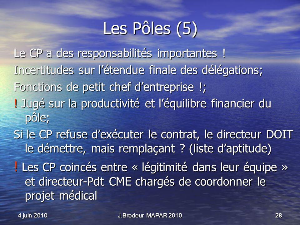 4 juin 2010J.Brodeur MAPAR 201028 Les Pôles (5) Le CP a des responsabilités importantes ! Incertitudes sur létendue finale des délégations; Fonctions