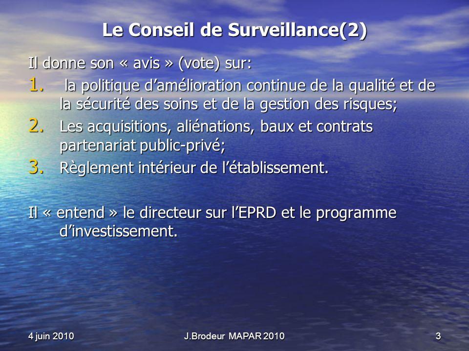 4 juin 2010J.Brodeur MAPAR 20103 Le Conseil de Surveillance(2) Il donne son « avis » (vote) sur: 1. la politique damélioration continue de la qualité