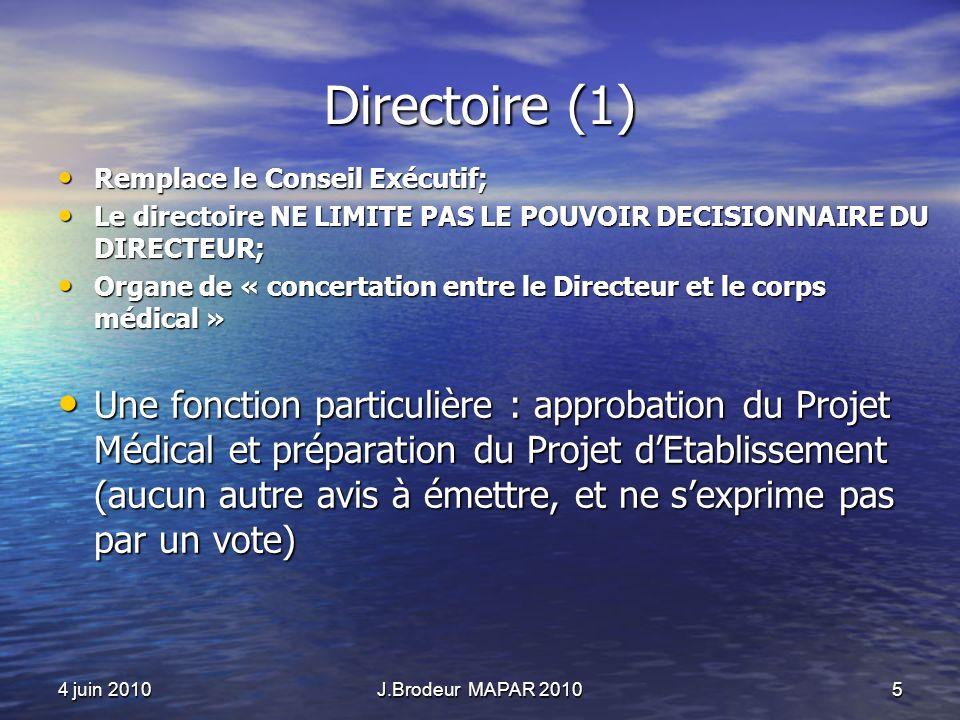 4 juin 2010J.Brodeur MAPAR 20105 Directoire (1) Remplace le Conseil Exécutif; Remplace le Conseil Exécutif; Le directoire NE LIMITE PAS LE POUVOIR DEC