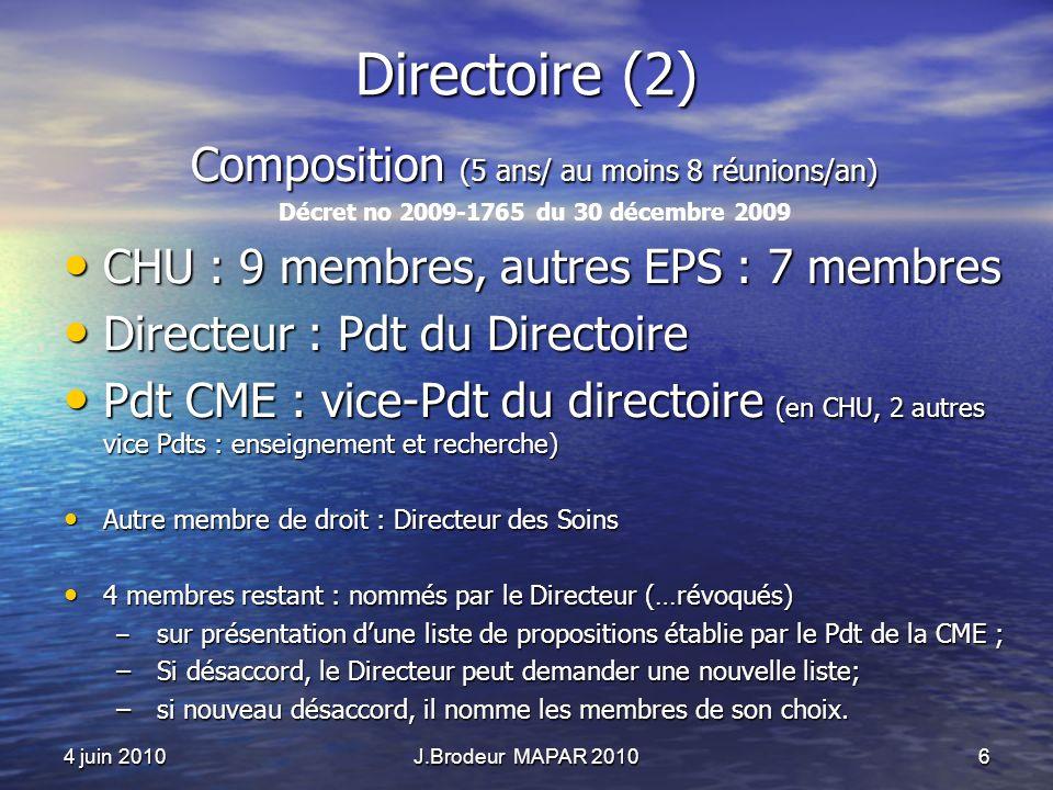 4 juin 2010J.Brodeur MAPAR 20106 Directoire (2) Composition (5 ans/ au moins 8 réunions/an) Décret no 2009-1765 du 30 décembre 2009 CHU : 9 membres, a
