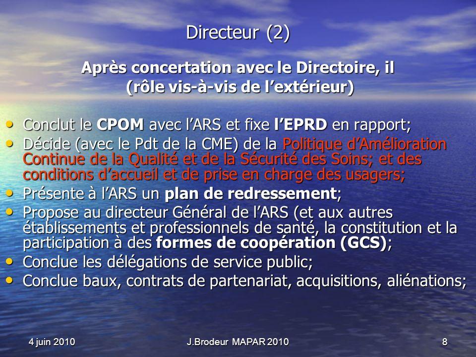 4 juin 2010J.Brodeur MAPAR 20108 Directeur (2) Après concertation avec le Directoire, il (rôle vis-à-vis de lextérieur) (rôle vis-à-vis de lextérieur) Conclut le CPOM avec lARS et fixe lEPRD en rapport; Conclut le CPOM avec lARS et fixe lEPRD en rapport; Décide (avec le Pdt de la CME) de la Politique dAmélioration Continue de la Qualité et de la Sécurité des Soins; et des conditions daccueil et de prise en charge des usagers; Décide (avec le Pdt de la CME) de la Politique dAmélioration Continue de la Qualité et de la Sécurité des Soins; et des conditions daccueil et de prise en charge des usagers; Présente à lARS un plan de redressement; Présente à lARS un plan de redressement; Propose au directeur Général de lARS (et aux autres établissements et professionnels de santé, la constitution et la participation à des formes de coopération (GCS); Propose au directeur Général de lARS (et aux autres établissements et professionnels de santé, la constitution et la participation à des formes de coopération (GCS); Conclue les délégations de service public; Conclue les délégations de service public; Conclue baux, contrats de partenariat, acquisitions, aliénations; Conclue baux, contrats de partenariat, acquisitions, aliénations;