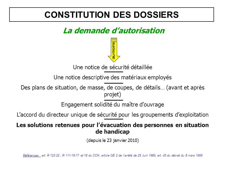 CONSTITUTION DES DOSSIERS Références : art. R 123.22 ; R 111-19-17 et 18 du CCH, article GE 2 de larrêté de 25 Juin 1980, art. 45 du décret du 8 mars