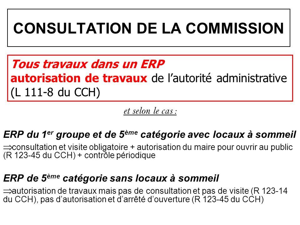 CONSULTATION DE LA COMMISSION et selon le cas : ERP du 1 er groupe et de 5 ème catégorie avec locaux à sommeil consultation et visite obligatoire + au