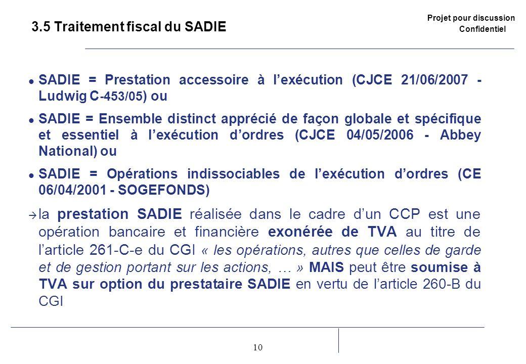 Projet pour discussion Confidentiel 10 2 3.5 Traitement fiscal du SADIE SADIE = Prestation accessoire à lexécution (CJCE 21/06/2007 - Ludwig C -453/05