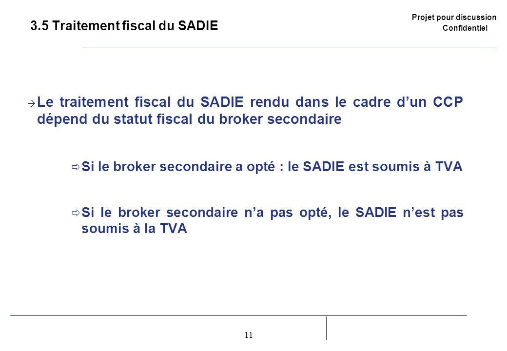 Projet pour discussion Confidentiel 11 2 3.5 Traitement fiscal du SADIE Le traitement fiscal du SADIE rendu dans le cadre dun CCP dépend du statut fis
