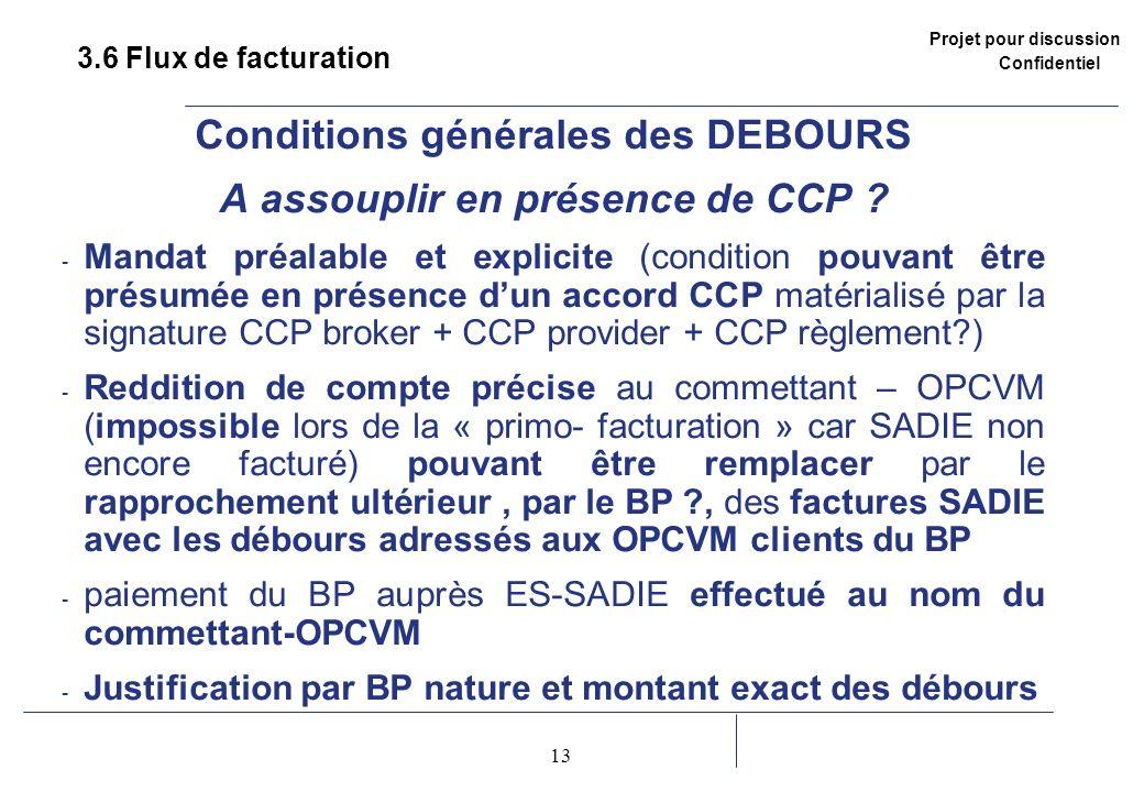 Projet pour discussion Confidentiel 13 2 3.6 Flux de facturation Conditions générales des DEBOURS A assouplir en présence de CCP ? - Mandat préalable