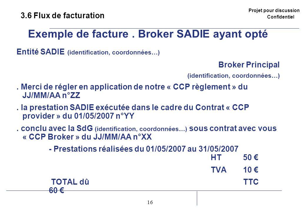 Projet pour discussion Confidentiel 16 2 3.6 Flux de facturation Exemple de facture. Broker SADIE ayant opté Entité SADIE (identification, coordonnées