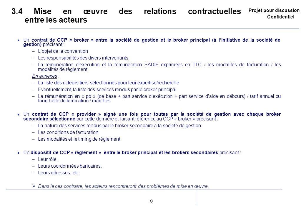 Projet pour discussion Confidentiel 9 2 3.4 Mise en œuvre des relations contractuelles entre les acteurs Un contrat de CCP « broker » entre la société