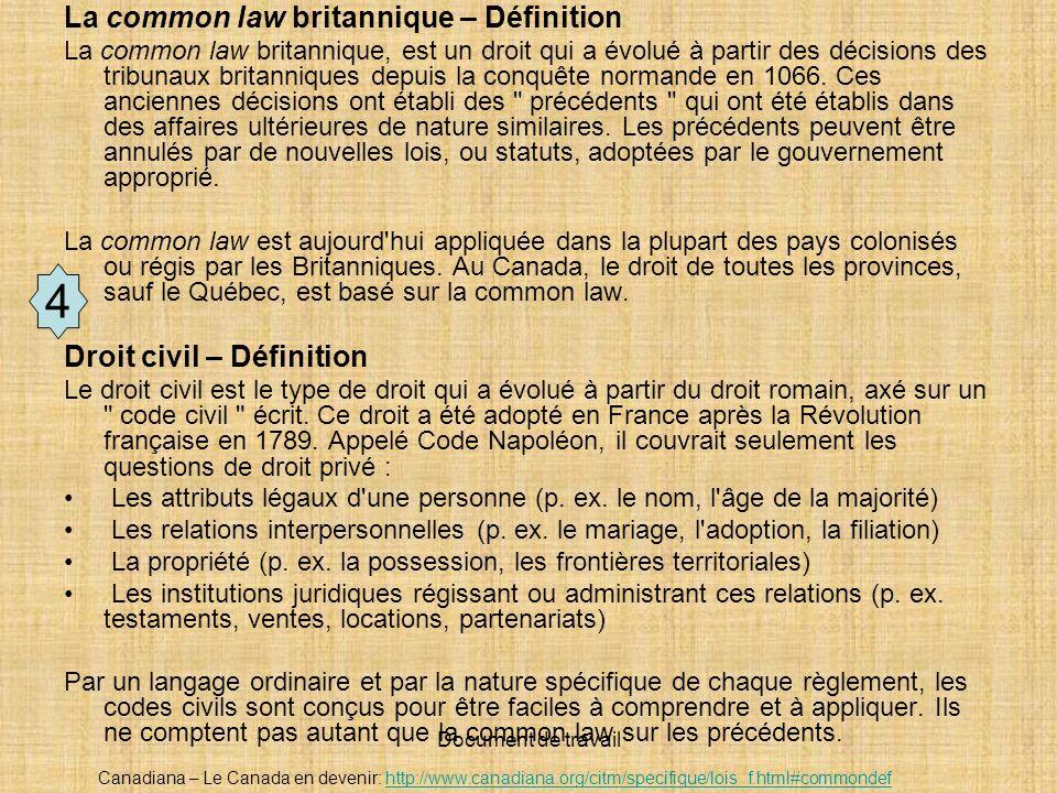 Document de travail La common law britannique – Définition La common law britannique, est un droit qui a évolué à partir des décisions des tribunaux b