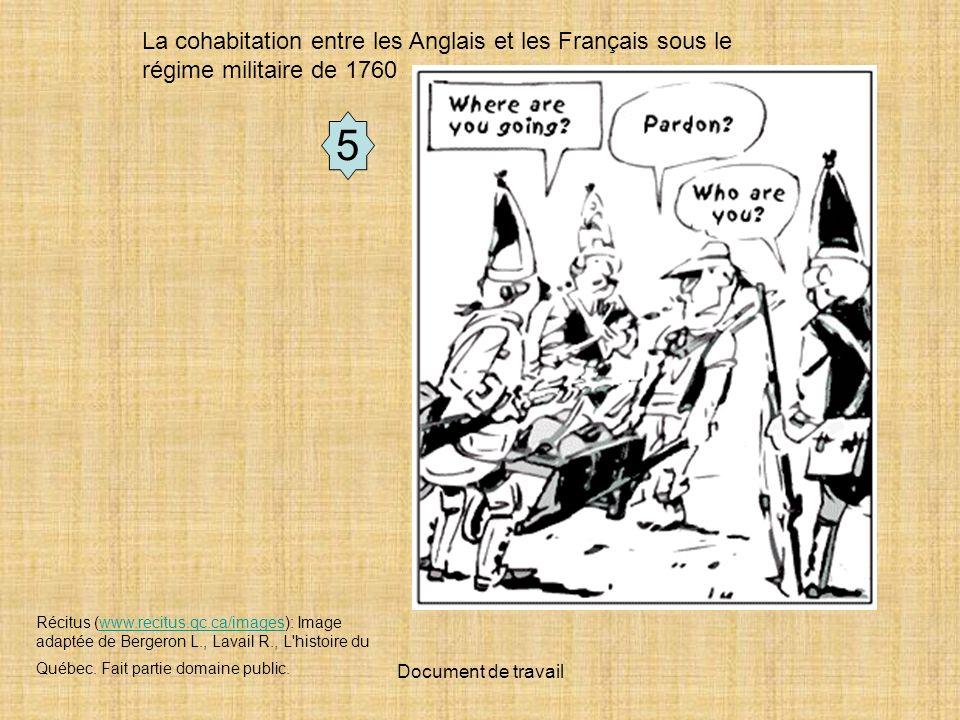 Document de travail 5 Récitus (www.recitus.qc.ca/images): Image adaptée de Bergeron L., Lavail R., L histoire du Québec.
