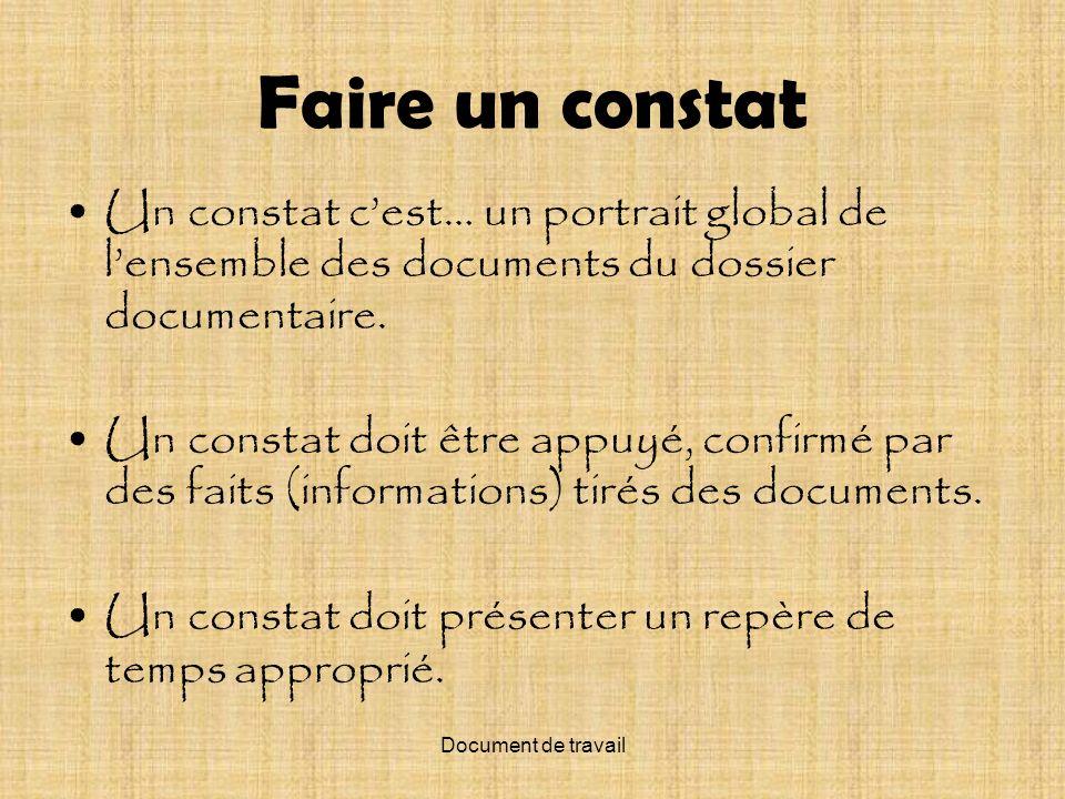 Document de travail Faire un constat Un constat cest… un portrait global de lensemble des documents du dossier documentaire. Un constat doit être appu