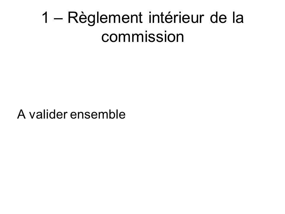 1 – Règlement intérieur de la commission A valider ensemble