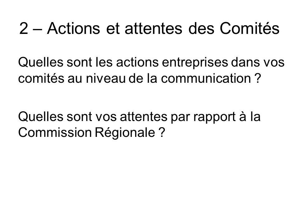 2 – Actions et attentes des Comités Quelles sont les actions entreprises dans vos comités au niveau de la communication ? Quelles sont vos attentes pa