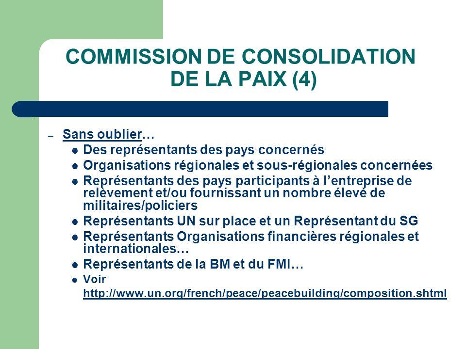 COMMISSION DE CONSOLIDATION DE LA PAIX (4) – Sans oublier… Des représentants des pays concernés Organisations régionales et sous-régionales concernées