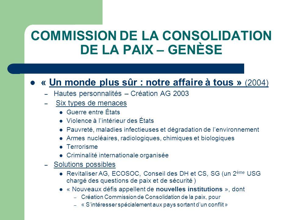 COMMISSION DE LA CONSOLIDATION DE LA PAIX – GENÈSE « Un monde plus sûr : notre affaire à tous » (2004) – Hautes personnalités – Création AG 2003 – Six
