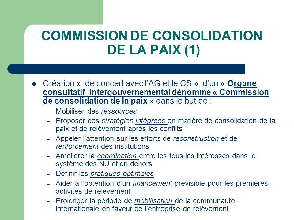 COMMISSION DE CONSOLIDATION DE LA PAIX (1) Création « de concert avec lAG et le CS », dun « Organe consultatif intergouvernemental dénommé « Commissio