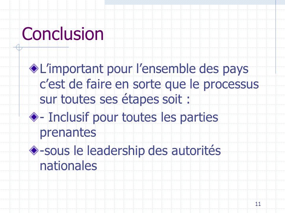 Conclusion Limportant pour lensemble des pays cest de faire en sorte que le processus sur toutes ses étapes soit : - Inclusif pour toutes les parties prenantes -sous le leadership des autorités nationales 11