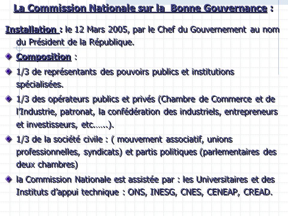 La Commission Nationale sur la Bonne Gouvernance : Installation : le 12 Mars 2005, par le Chef du Gouvernement au nom du Président de la République.
